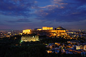 Parthenon Temple and Amphiteater are ancient architecture at the Acropolis, Athens, Greece