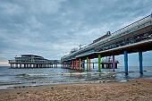 The Scheveningen Pier Strandweg beach in The Hague with Ferris wheel. The Hague, Netherlands