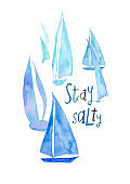 Poster With Watercolor Painted Sailboats
