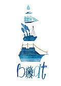Nautical Poster With Gouache Painted Boats