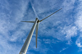 Wind turbines or wind energy converter in sunny day