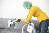 Home, apartment and room sterilization / decontamination, cleaning, vacuuming with vacuum cleaner in the time of dangerous viruses.