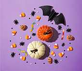 Pumpkins with Halloween decorations
