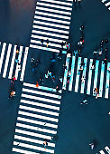 Aerial view of a big intersection in Tokyo