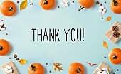 Thank you message with autumn pumpkins with present boxes