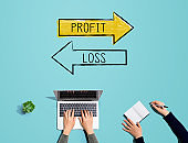 Profit or loss with people working together
