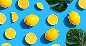 Fresh yellow lemons overhead view