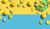 Fresh lemons and limes overhead view