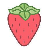 Cartoon Cute Strawberry Emoji Icon Isolated