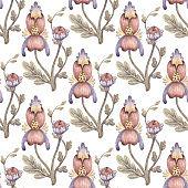 Fabulous flowers seamless pattern.