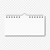 Blank realistic horizontal calendar on spiral