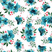 Bright watercolor pattern with blue flowers