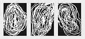 Set of black and white backgrounds with strokes