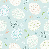 Tender blue pattern with Easter eggs and branches