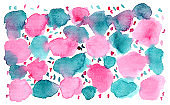 Bright turquoise blue and pink blobs background