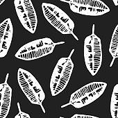 Black and white pattern with hand drawn ink leaves