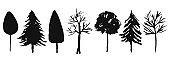 Collection of vector black ink trees silhouettes
