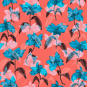 Bright elegant pattern with overlay blue flowers