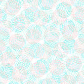 Tender blue and coral texture round shapes pattern