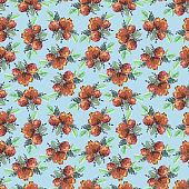 Floral pattern with red watercolor flowers on blue