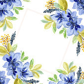 Delicate square watercolor frame with blue flowers