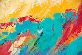 Fine Art Abstract Painting Background with Brush Strokes