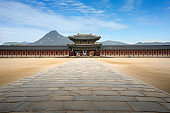 Gyeongbokgung palace gate and wall with nice sky in morning landmark of Seoul, South Korea.