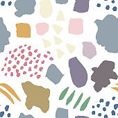 Pattern with hand drawn colorful sketchy shapes