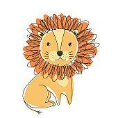 Cute doodle hand drawn orange lion illustration