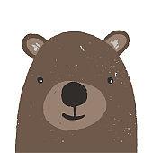 Cute hand drawn brown bear head illustration