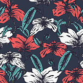 Sketch pattern with colorful red and white flowers