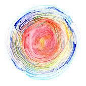Bright rainbow colors watercolor striped circle