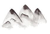 Black chinese ink foggy mountains illustration