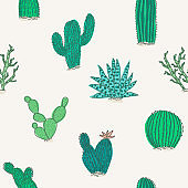 Cute pattern with green color vector cactus