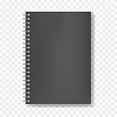 Mockup of realistic black notebook on spiral