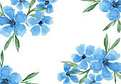 Delicate watercolor blue flowers horizontal frame