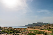 Overlook of Mediterranean sea shore and bay in Cavo Greco national park, Cyprus