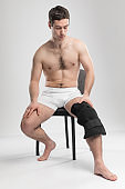 Reusable Ice pack and wrap. Support bondage post-injury with liquid. Shooting in the studio. Good gift.