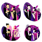 set of illustrations based on the roaring twenties style. Couple at a party in the style of the early 20th century.