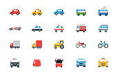 Car vector icons set. Land Vehicles Pack. Automobile, Freight Transportation, Taxi, Police Car, Ambulance, Truck, Van, Bicycle, Motor Bike, Bus Illustrations Collection