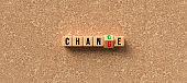 cubes with letters showing the words CHANGE and CHANCE - 3d rendered illustration
