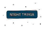 Blue button is night trivia with black contours on a white background. On the background are small black objects.