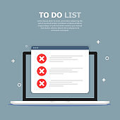 The to do list box is depicted in a computer on a blue background. Above, white text is written. White objects are depicted in the background.