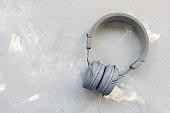 Headphones on gray background