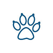 Paw Line Blue Icon On White Background. Blue Flat Style Vector Illustration.