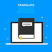 The TRANSLATE black book is depicted in the computer screen. Blue background, white small objects. The text is written from above.
