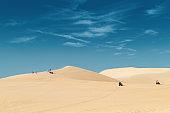 2015-01-03 Vietnam, Mui Ne. Many people walk in the desert, ride ATV.
