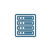 Server Line Blue Icon On White Background. Blue Flat Style Vector Illustration.