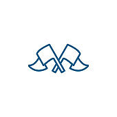 Crossed Flags Line Blue Icon On White Background. Blue Flat Style Vector Illustration