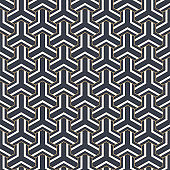 Abstract seamless pattern.  Striped linear geometric tiles with triple weaving elements.